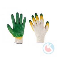 Перчатки х/б 13 кл. двойной облив (зеленые) (10)