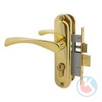 Замок врезной СТАНДАРТ 103/50 GР золото с/ручкой для деревянных дверей