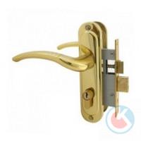Замок врезной СТАНДАРТ 132/50 GР золото с/ручкой для деревянных дверей